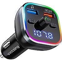 Transmisor FM Bluetooth V5.0, [RGB 7 Colores Luz de Anillo] VicTsing Manos Libres para Coche QC3.0 Carga rápida…