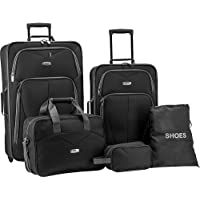 Elite Whitfield 5-Piece Softside Lightweight Rolling Luggage Set (3 colors)
