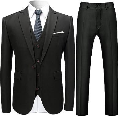NestYu Men Groom Blazer Jacket Tux Vest Suit Pants 3 Piece Suit Set