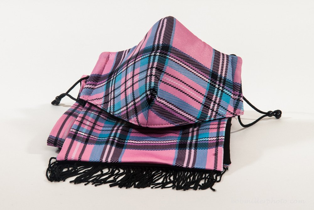 Healthy Air Mask® M11 Pink Plaid Mask Scarf Set by Healthy Air Mask