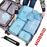Mossio 7 Sets Packing Cubes for Travel - Bonus Shoe Bag Included - Lightweight & Durable Packing Bags - Great for Carry-on Luggage Accessories (Light Blue)