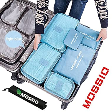 Packing Organizer,Mossio 7 Piece Various Size Compression Organizers Light Blue