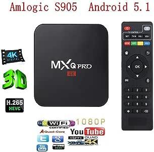 E & árbol MXQ Pro Android 5.1tv Box, Internet 1080p HD WiFi reproductor de video streaming, Ultra HD 4 K, Amlogic S903 Quad Core TV CAJA (MXQ 1 GB RAM, 8GB ROM):