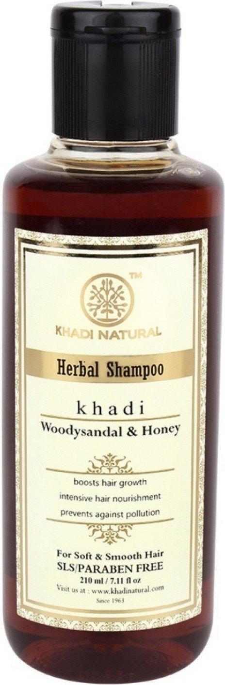 KHADI NATURAL Woody Sandal and Honey Hair Cleanser/Shampoo, SLS and Paraben Free, 210 ml