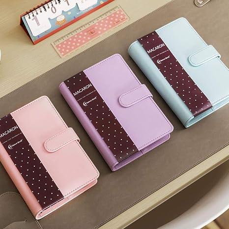 Kdyi Cute Macaron Cuaderno Espiral de Cuero A5 A6 Diario ...