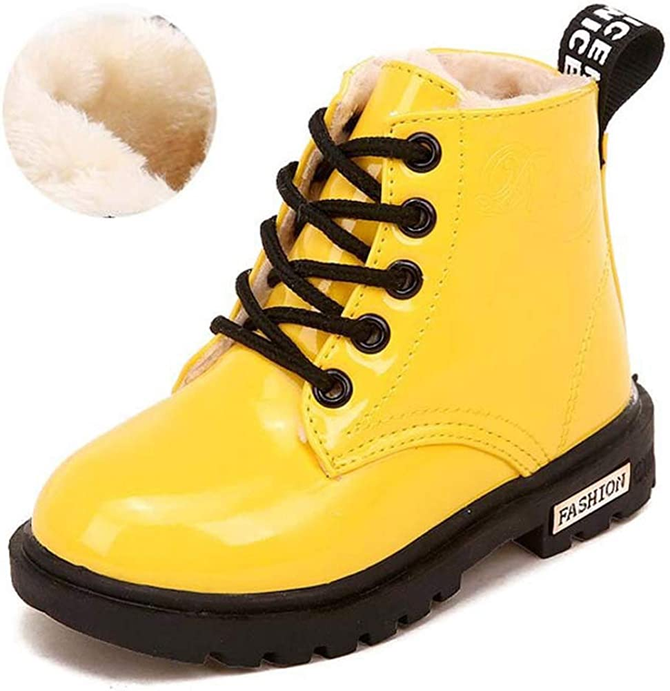 UK Kids Girl Boy Martin Shoes Children Toddlers Lace Up Flat School Ankle Boots