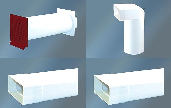 Canalizado Set 150 mm muro Buzón redondo con rectángulo Conector y válvula antirretorno 2 x Canal