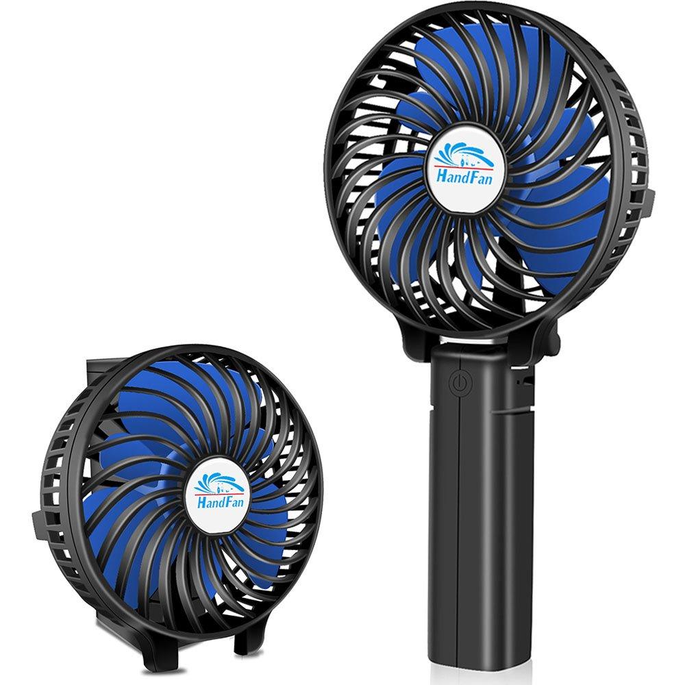 HandFan Small Handheld Fan, Mini Hand Fan/Desk Fan Folding Change Rechargeable Battery/USB Operated Electric Fan 3 Speeds Portable Fan Strong Wind Personal Fan(Black)