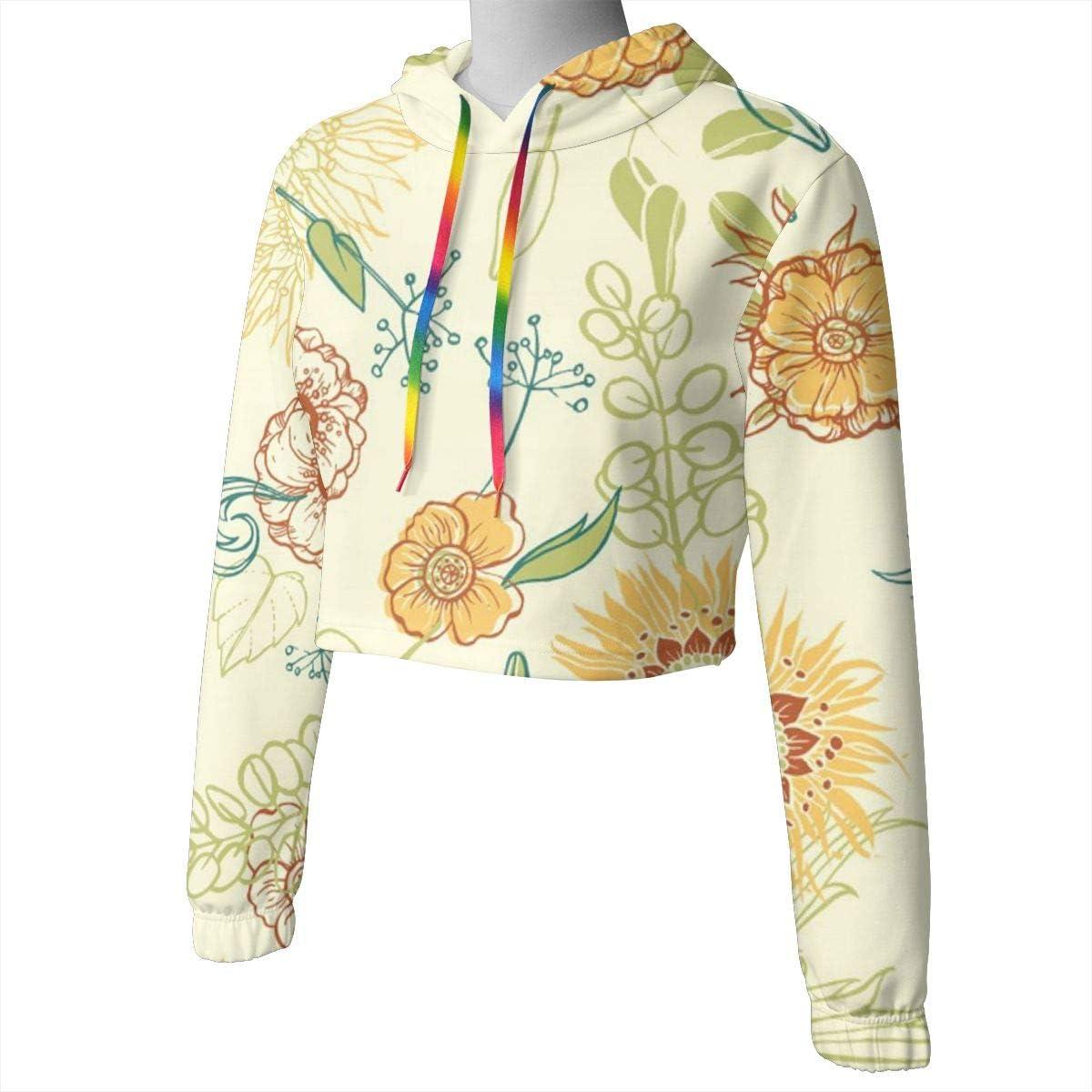 Floral Pattern Womens Long Sleeve Letter Print Casual Sweatshirt Crop Top Hoodies