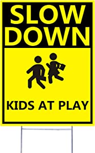 Arunpet Double Side Slow Down Signs, with Metal Wire H-Stakes, 9''x12'' Kids and Dog Cat Pets at Play Yard Sign (F)