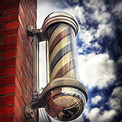 Oshion 28'' Barber Pole Light LED Red White Blue Stripes Rotating Metal Hair Salon Shop