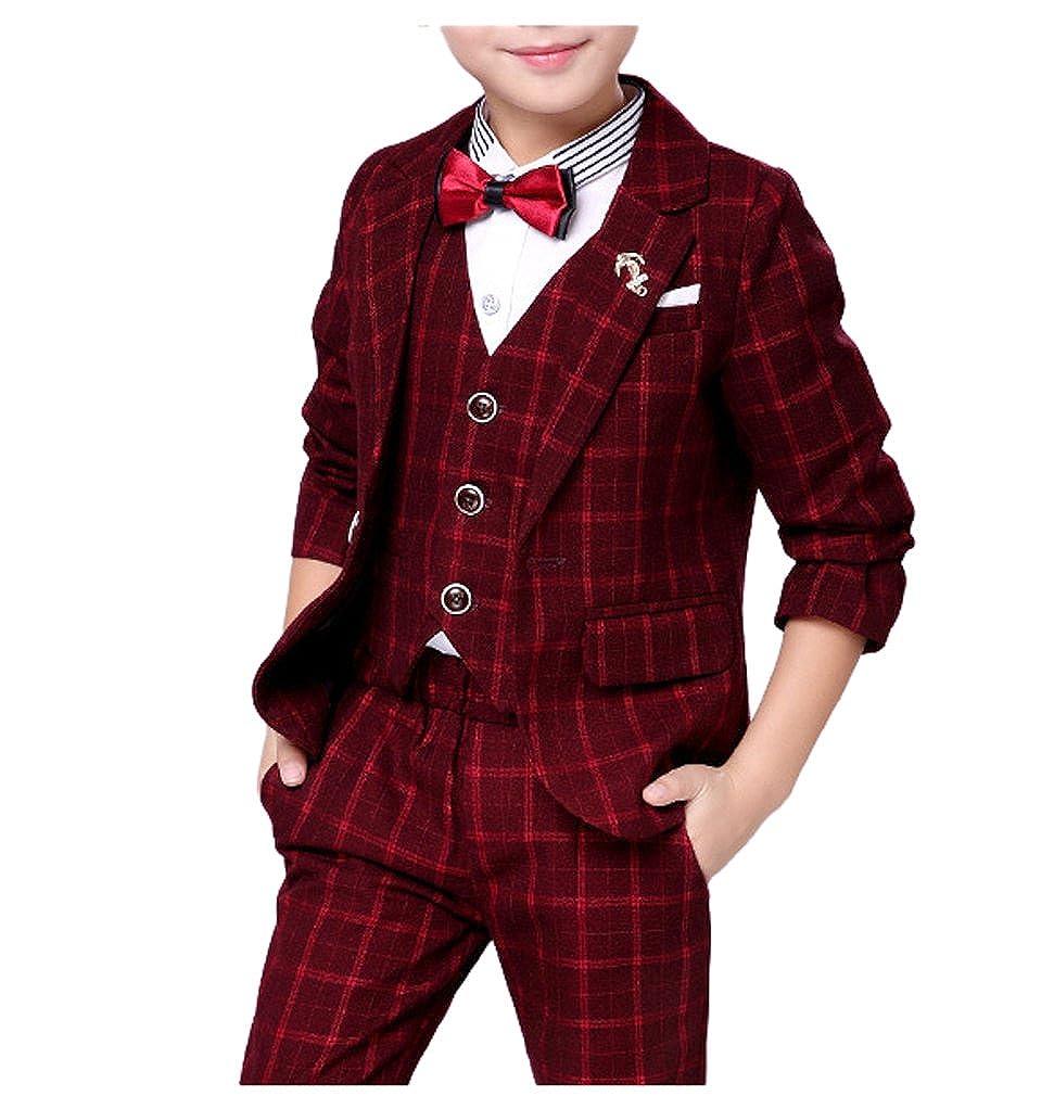 YUFAN Boys Red Blue Gray 3 Colors Plaid Suit Set Jacket Vest Pants 3 Pieces Suits
