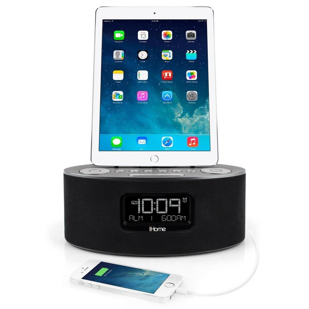 iHome iDL46 Lightning Dock Clock Radio and USB Charge/Play for iPad/iPod and iPhone 5/5S and 6/6Plus iPad Air /iPad Mini (Gray) iDL46BE