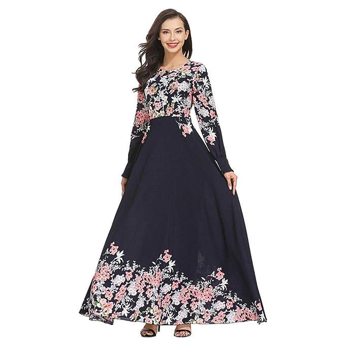 Hzjundasi Vestido de Musulmana Islámica Afghan Abaya para Mujer - Folk-Custom Estampado Floral Plisado Fluido Vestidos Oración Ramadan Malasia árabe Thobe ...