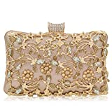 Women Crystal Clutches Bridal Evening Bags And Clutches For Women Large Handbag Clutch Purse With Strap (Rose Gold 1)
