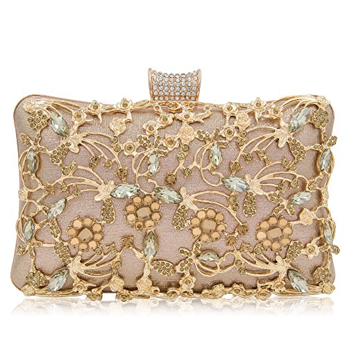 Bag Bridal Purse - Women Crystal Clutches Bridal Evening Bags And Clutches For Women Large Handbag Clutch Purse With Strap (Rose Gold 1)