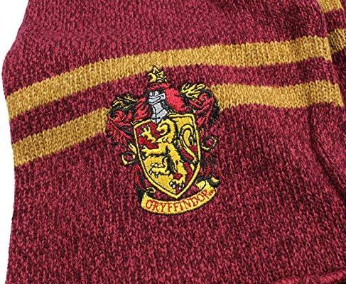 Harry Potter Hogwarts Houses Knit Gryffindor Scarf & Pom Beanie Set (Gyffindor)