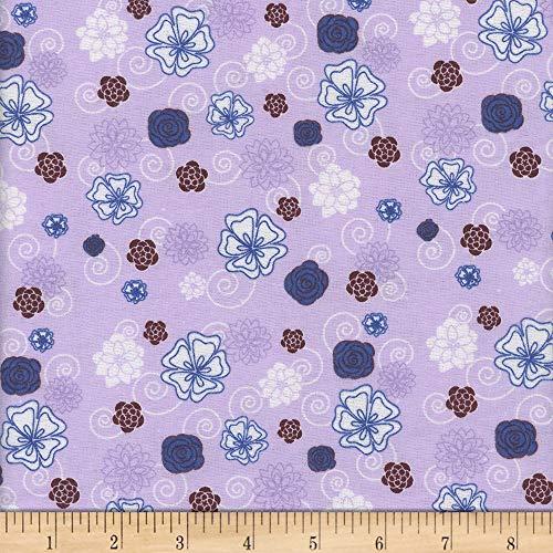 (Mook Fabrics Flannel 90'' Floral Swirl Fabric, Purple, Fabric By The Yard )