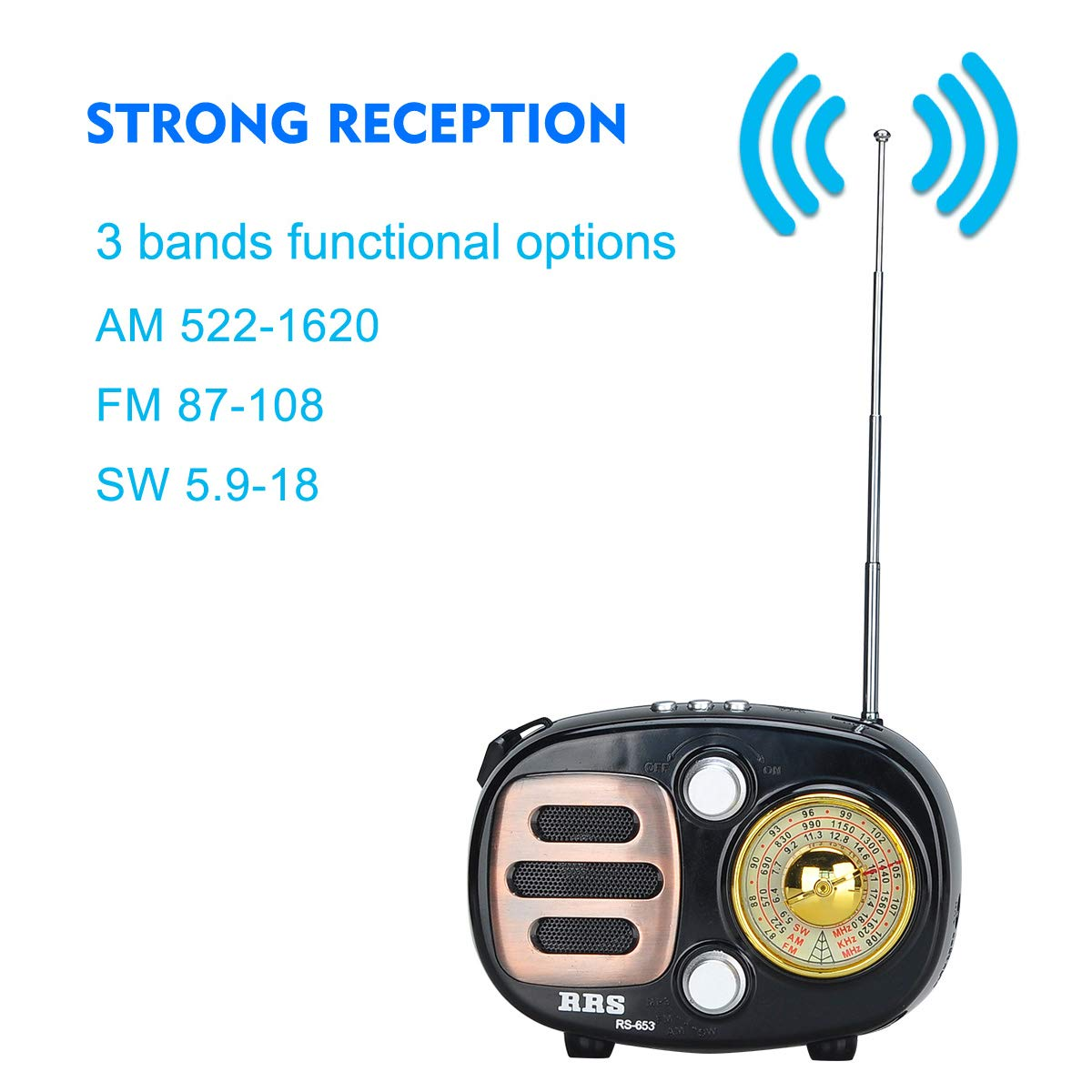 Portable FM//AM//SW//MP3 Bluetooth Radio High Reception /& Clear Loudspeaker for Exercising Walking Grey Covvy USB Chargeable Build-in Stereo Speaker with Earphone /& TF Jack Travelling /& Camping