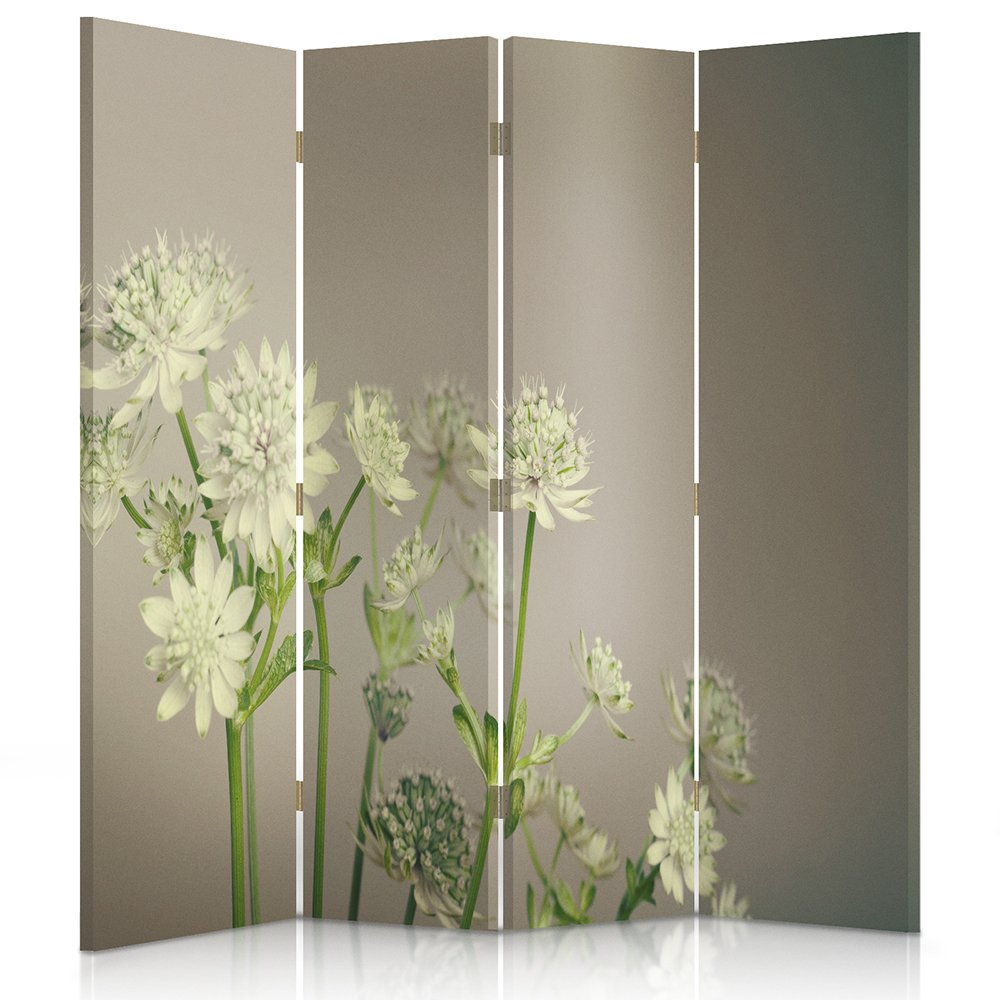 Feeby Frames Canvas Screen, Decorative RoomDivider, Paravent, Single sided, 4 panels (145x180 cm) FLOWERS, GREEN, WHITE