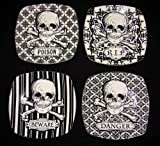 "222 Fifth Halloween Skulls Crossbones 8"" Salad Plates Graphic Black & White Porcelain, Set of 4 Designs: RIP, BEWARE, POISON, DANGER"