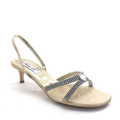 547a9f4bfbb Brieten New Women s Rhinestone Strappy Kitten Heel Slingbacks Buckle Dress  Sandals (5.5) Gold