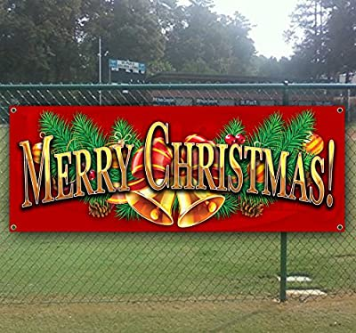 Merry Christmas 4 13 oz Heavy Duty Vinyl Banner with 4 Grommets