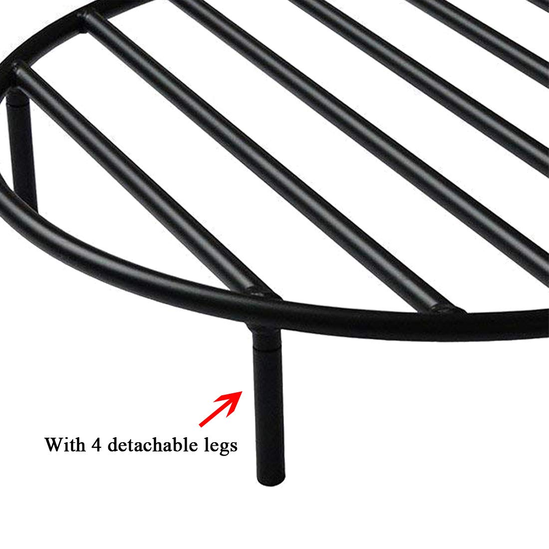 Onlyfire Round Fire Pit Grate with 4 Legs for Outdoor Campfire Grill Cooking 22 Inch