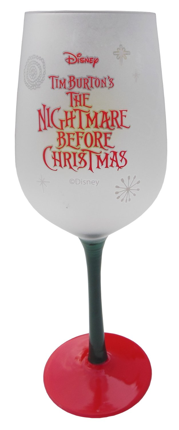 The Nightmare Before Christmas Jack Skellington in Santa Suit Frosted Glass Goblet