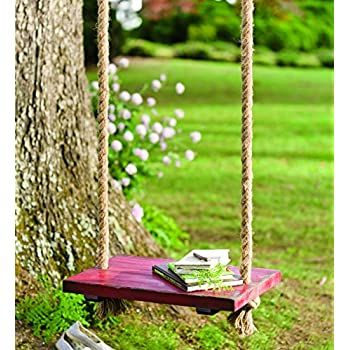 plow hearth durable hanging rope tree swing with wooden seat painted distressed. Black Bedroom Furniture Sets. Home Design Ideas