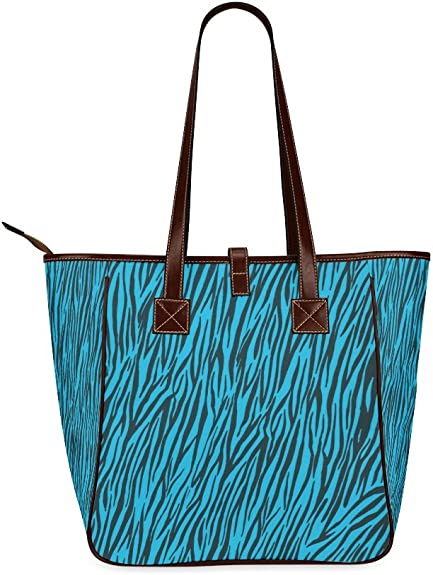InterestPrint Blue Zebra Stripes Animal Print Fur Leather Tote Bag Large