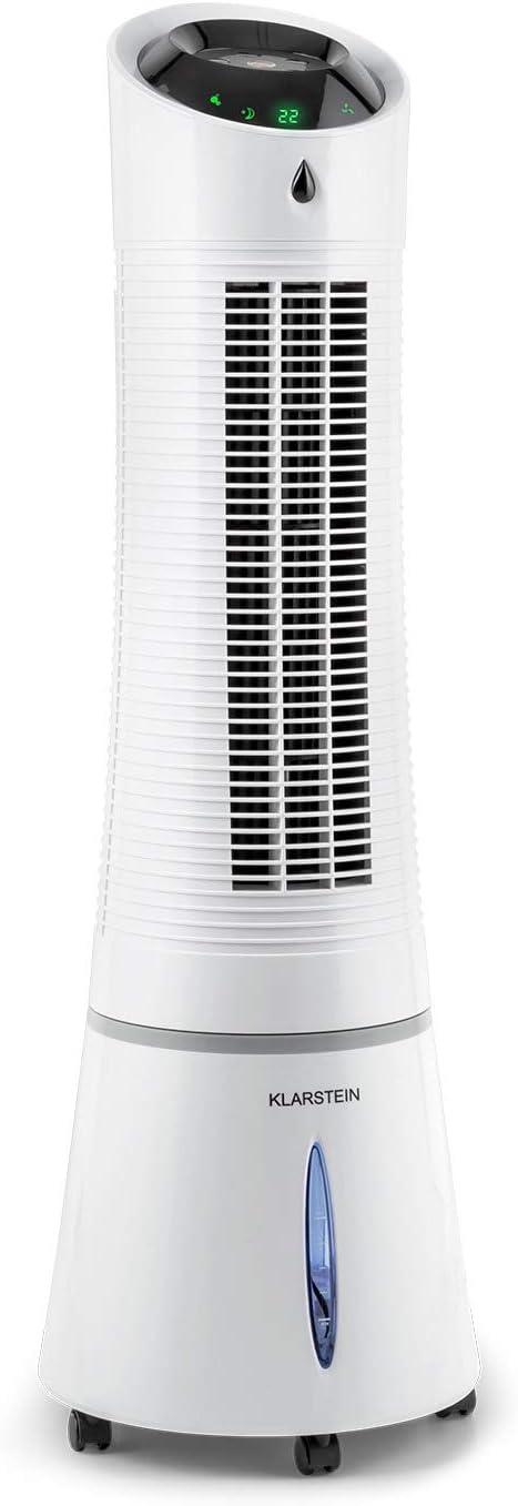 Minuterie Purificateur 4 en 1 : Rafraichisseur dair 3 Modes KLARSTEIN Skyscraper Ice Cool Line 3 Vitesses Economique 30W 210 m/³//h roulettes Ventilateur Blanc Humidificateur