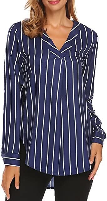 Womens Blouse Tops Long Sleeve Women Shirt for Women Long Sleeves Stripe Button Loose Fit Cotton Casual Pullover
