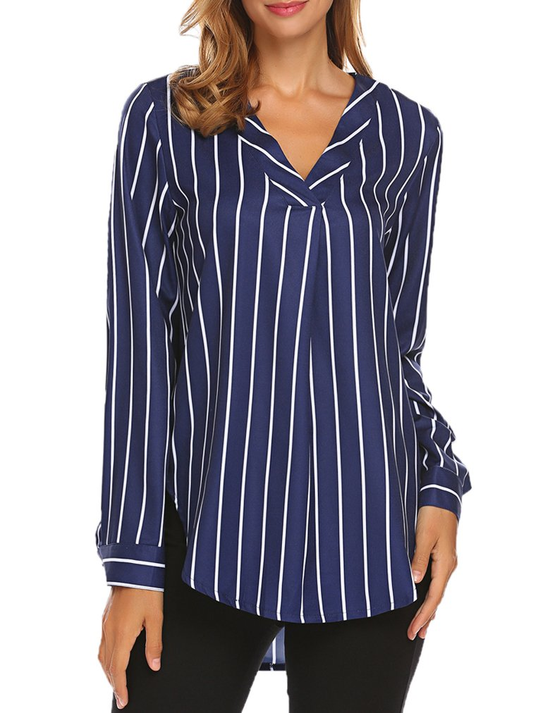 Sherosa Women Casual Blue and White Striped Shirt Loose Long Sleeve Pleated Top Blouse (XL, Blue)
