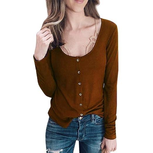 Luckycat Mujeres Sólido O-Cuello Botón Casual Manga Larga Túnica Tops Blusa Camiseta: Amazon.es: Ropa y accesorios