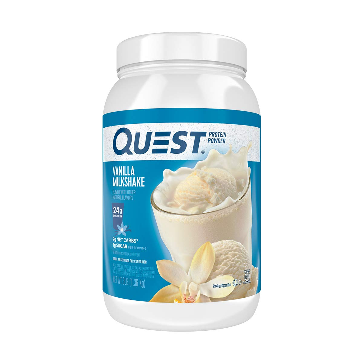 Quest Nutrition Vanilla Milkshake Protein Powder,  High Protein, Low Carb, Gluten Free, Soy Free, 3 Pound by Quest Nutrition