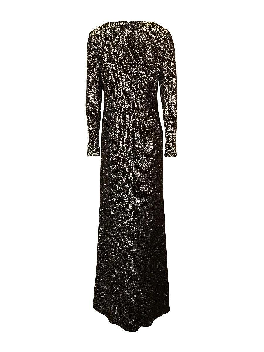 Amazon.com: Patra Women\'s Beaded Trim Long Sleeve Metallic ...