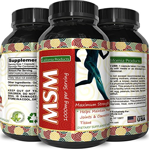 Natural MSM Dietary Supplement Capsules for Joint Pain + Increased Flexibility - Boosts Collagen for Hair Skin + Nails - Antioxidant Sulfur Vitamin Boosts Cell Health & Immune System - Men + Women