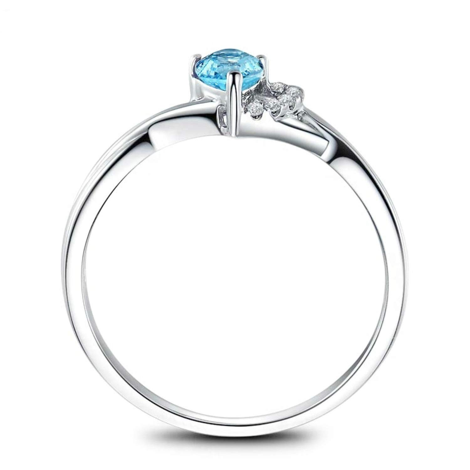 AMDXD Jewellery 925 Sterling Silver Engagement Ring Girls Blue Pear Cut Topaz Teardrop Ring