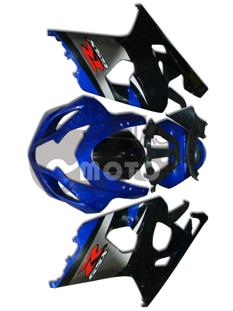 FlashMoto suzuki 鈴木 スズキ GSX-R600 GSX-R750 K4 2004 2005用フェアリング 塗装済 オートバイ用射出成型ABS樹脂ボディワークのフェアリングキットセット (ブルー,シルバー)   B07MKCN9RX