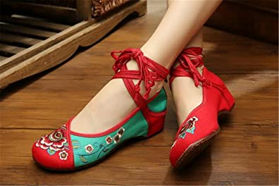 5cf4ac104cb Chinese Embroidered Floral Shoes Women Ballerina Mary Jane Flat Ballet  Cotton Loafer Red and Green 40