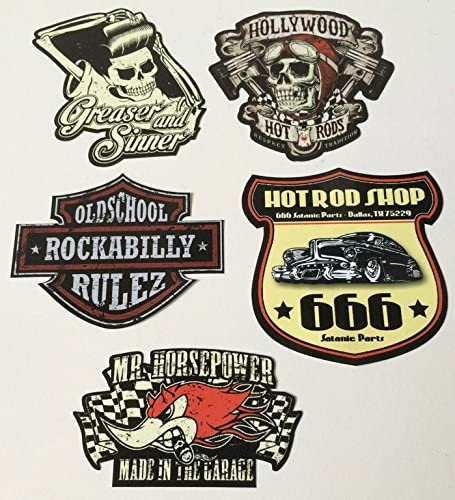 Mg610 Aufkleber Set Rocker Breite Je Ca 6cm Rockabilly Hot Rod Shop Sticker 666 Devil Old School Grease 50th 60th 70th Auto