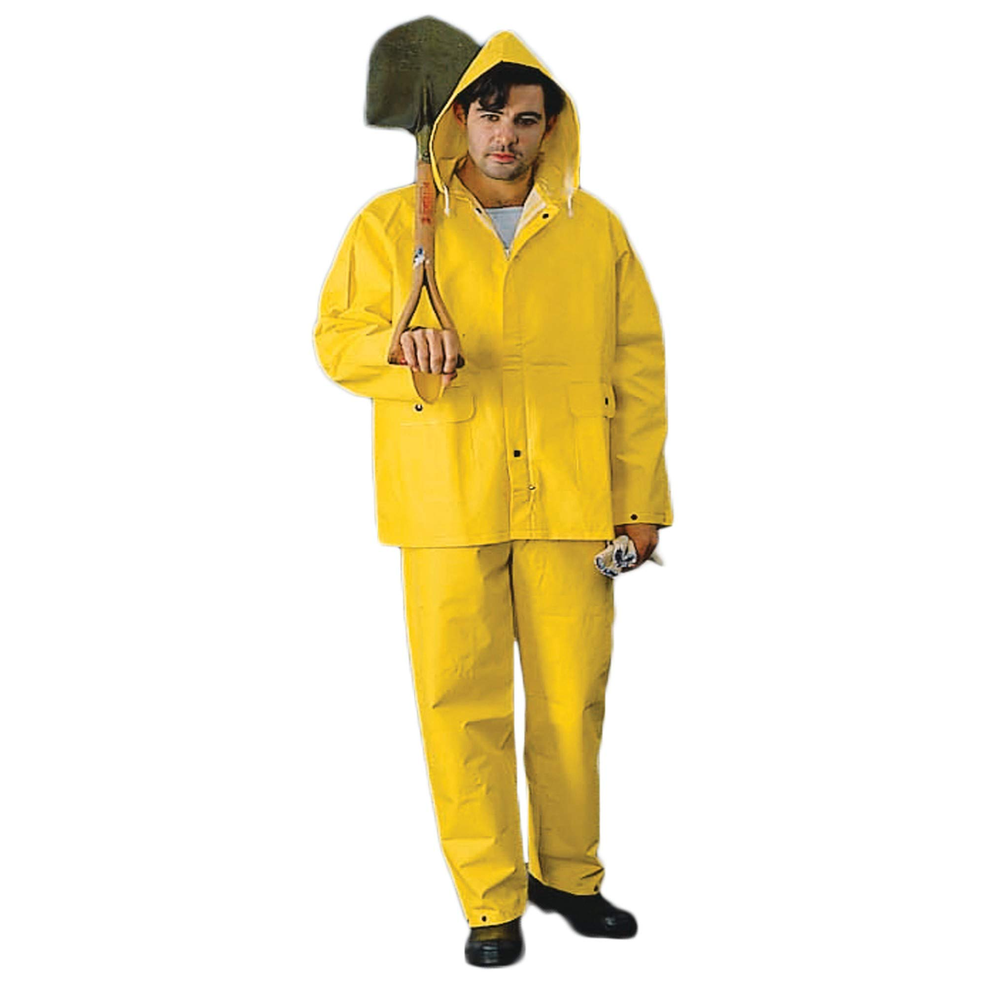 Heavy Weight Rain Suit with Hood for Men and Women Waterproof (Extra Large, Yellow)