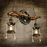 Retro Chandeliers 2 Lights/Glass Ball Lights/ Wood Pendent Light Lighting Fixture for Living Room / Hallway / Outdoors / Garage For Sale
