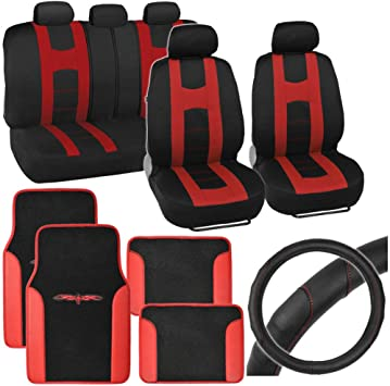 Auto Car Seat Covers Full Set Black /& Red w// Synth Leather Steering Wheel Cover