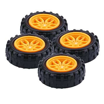 Yeeco 4 Piezas El Plastico Juguete Coche Neumático Rueda, Mini Φ2 * 18mm Inteligente RC