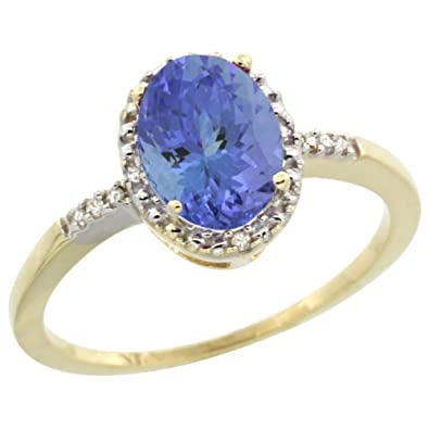 8634847bbbb53 14ct Yellow Gold Diamond Natural Tanzanite Ring Oval 8x6mm, sizes J ...
