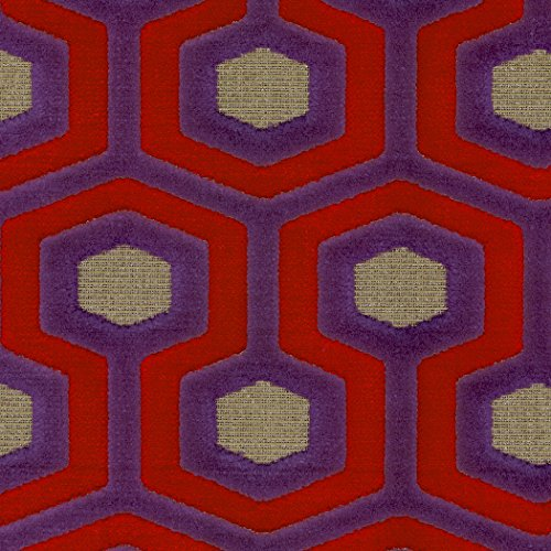 Paramount Royal Purple Brown Mauve true Purple Tan Beige Geometric Woven Pile Upholstery Fabric by the yard (Paramount Ottoman)