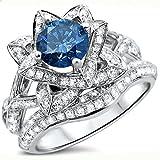 Smjewels 2.05 Ct Blue Round Sim.Diamond Lotus Flower Engagement Ring Set 14K White Gold Plated