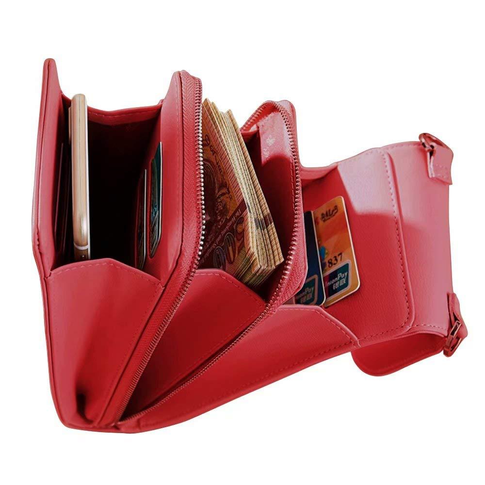 Flywill Donna Piccola Borse a Tracolla Pelle PU Grande Capacit/à Borsa Titolare del Telefono con Slot per Schede Tasca Moda Cerniera Sacchetto del Cellulare per Ragazza Borsa da Viaggio Azzurro